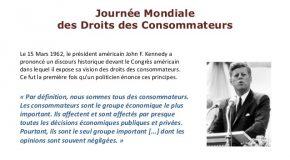 JOURNÉE INTERNATIONALE DES DROITS DES CONSOMMATEURS